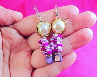 Unique Button Beaded Purple and Pink Dangle Earrings