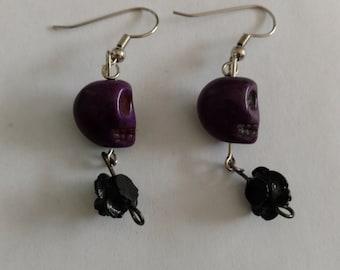Purple skull black roses