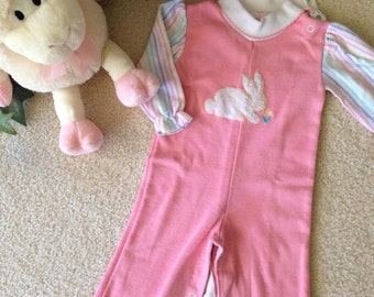 Vintage Health-tex  Knit Romper/Jumpsuit  (12 mos.) Pink With Bunny Rabbit