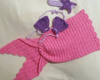 Crocheted Mermaid newborn diaper cover