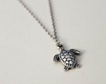 Turtle Necklace, Turtle Charm Necklace, Animal Necklace, Sea Turtle Necklace, Turtle Jewelry