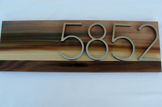 Modern Address Plaque- Poplar & Walnut- Custom- House Numbers Sign- Modern House Numbers- Housewarming Gift