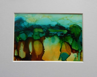 Alcohol ink Abrstact landscape on Yupo paper 5x7