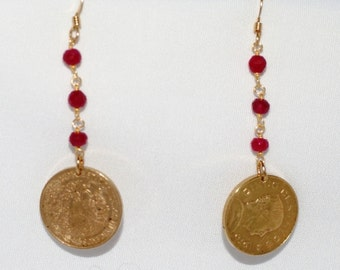 1970 Mexican Cinco Centavos Golden Coins with Rubies Earrings