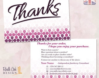 UK / Thank You Postcard / Customised / Nail Wrap Party Consultant / Printable Stationery / Sized for United Kingdom