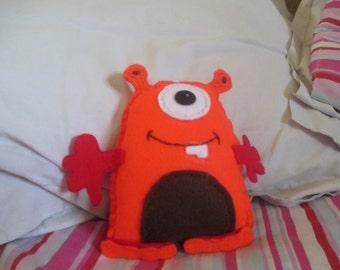 Handmade Orange Monster Cuddly Toy