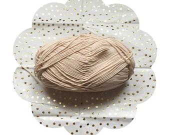Extra soft cotton blend yarn. Allergen free yarn blend. Light brown yarn. Crochet/knitting supply yarn. Baby yarn.