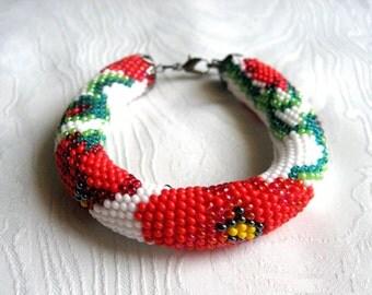 Red poppy beaded crochet bracelet jewelry set, flower beaded bracelet jewelry set, vyshyvanka embroidery jewelry bracelet