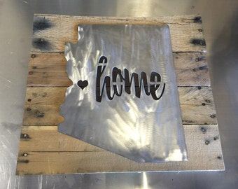 Metal Home State with Wooden Sign