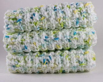 Hand Knit Dishcloth Set - Hand Knit Washcloth - White/Blue/Yellow/Green - Mix