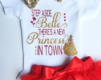 Princess Belle Gold and Red Glitter Onesie