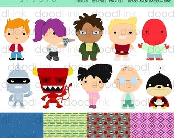 Future Cartoon Digital Clipart / Cute Pizza Clip Art / Digital Paper For Personal Use / INSTANT DOWNLOAD