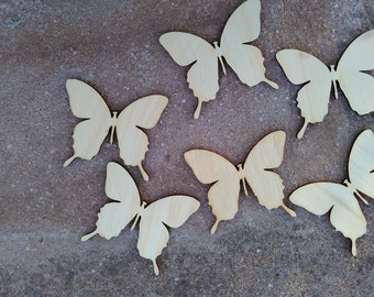 DIY supply/6 wooden butterflies/unfinished butterfly/wooden toys/wooden figure/wooden supplies