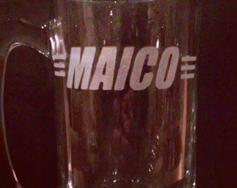 Maico  Vintage Motorcycle Etched Glass Beer Mugs