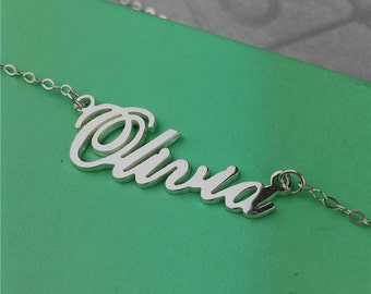 Custom name necklace, sterling silver ALS style name necklace, personalized name plate, name necklace silver, gift for mom