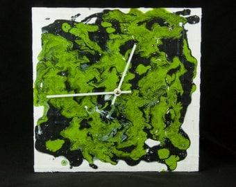 Green Abstract Wall Clock, Colorful Wall Clock, Modern Wall Clock, Unique Wall Clock, Abstract Art, Colorful Wall Art, Wall Decor
