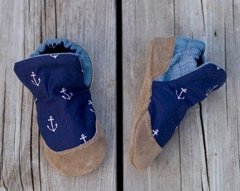 Ahoy Matey Baby Shoe, Soft Sole Baby Shoe, Baby Booties, Non Slip, Nautical Print, anchor print, Handmade, Genuine Suede,  Baby Moccasins.