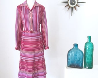 1970s Japanese retro vintage striped dress by Madame Polla