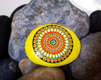 Sunshine Yellow | Hand Painted Mandala Stone | Unique Design | 10x8x1.5cm approx | Can be Personalised