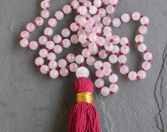 108 mala necklace - Rose Quartz - FREE SHIPPING across Australia