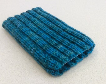 Knitted iPhone sock for SE,  4, 4S, 5, 5S, smartphone cover case, blue green