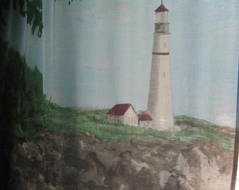 Lighthouse/Nautical Curtains/2 Window Panels