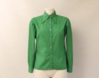 Vintage • Blouse • Shirt • Womans Green Blouse • Woman's Button Up Blouse • Green Blouse • Woman's • Long Sleeve • Long Sleeve Blouse