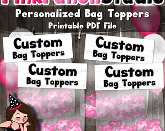 DIY Custom Design Personalized Printable Bag Toppers Made to Match Your Party Theme PDF File