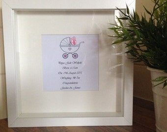 New Born Gift, Personalised Frame for a Baby Girl/Boy