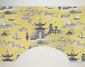 Waverly Peaceful Temple Chinoiserie Oriental Toile Custom Valance Curtain, Lemongrass