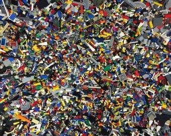 1 pound Lego bricks blocks w/ 1 MINIFIG