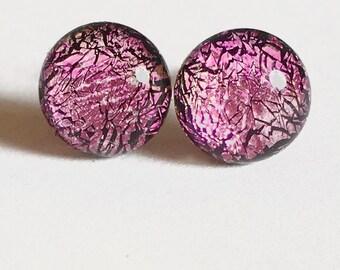 Dichroic Glass and Titanium Stud earrings ~ Flamingo Pink