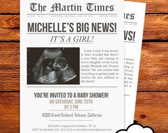 Newspaper Baby Shower Invitation // Baby Ultrasound Photo // Newsprint // Ultrasound Photo Invitation // Newspaper page