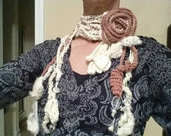 Romantic Crocheted Lariat with Rose Brooch