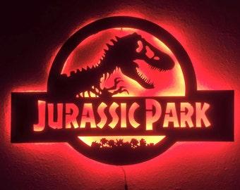Wooden LED Back lit Jurassic Park  Wall Light - FREE SHIPPING