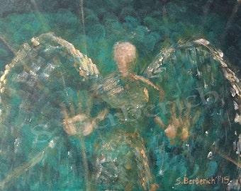 Archangel Raphael, Healing Angel, Reiki Infused Green Giclee Print // gifts for healing