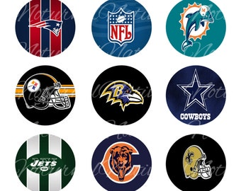 INSTANT DOWNLOAD !!! - NFL Football - Digital Collage 1 inch Bottlecap Images - Buy 1 Get 1 Free !!!
