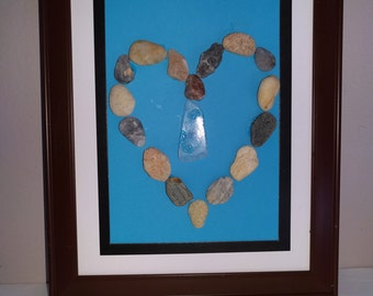 Beach Pebble Heart with Seaglass Teardrop