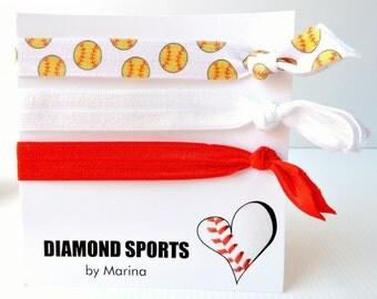 Softball hair ties - snagless hair ties - set 3 - softball, plain red, plain white elastic