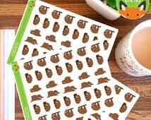 Sloth Small MIXED Sloths Cute Lazy Day Sleep Stickers - Planner Stickers - Planner Decorations - Kikki-K & Erin Condren Sticker Sets