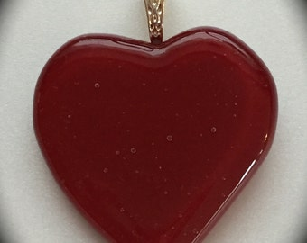 Red Glass Heart Pendant with Silver Plated Bail