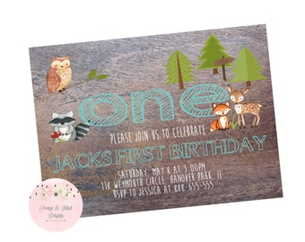 Woodland First Birthday Invitation, Woodland Invitation, Boy First Birthday Invitation, First Birthday Invitation - Digital