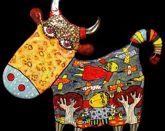 Cow ceramic panels, Wall panels bull, bull ceramic panels, ceramic bull, ceramic cow, bull, Bull Wall panels, naive art, art brut