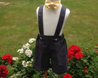 Boys charcoal gray shorts with cuffs, boys suspender shorts, ring bearer shorts, available to order 12mo, 18 mo, 2t, 3t, 4t, 5t ,6