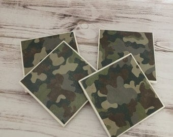 Camo Coasters, Ceramic Coasters, Christmas Gift, Coaster Set, Tile Coasters, Birthday Gift, Gift for Men, Man Cave, Camouflage Coasters