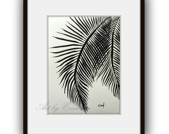 """Original Painting, Plant Art, Abstract Painting, Contemporary Art, Black and White painting, Modern Painting on Paper 11""""x15"""""""