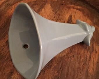 Vintage Abingdon Pottery Light Blue Morning Glory Hanging Wall Pocket Vase
