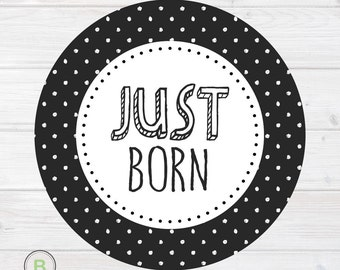 Newborn Monthly Baby Sticker - Just Born - Black and White Polka Dots Design by Baby Lookback