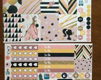so Chic gold glitter pink black Mini Weekly Set ECLP Horz & Vert Planner Stickers Erin Condren Mambi Inkwell Press Filofax KikkiK Happy