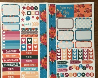 Blue Summer Sunset Medium Personal MM Stickers Louis Vuitton Mambi Inkwell Press Filofax Kikki K Happy Life Planner LV Summer Fall Autumn